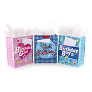 Hallmark Large Birthday Gift Bag Bundle with Cards and Tissue Paper, 3 pk.
