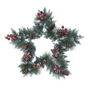 "Puleo International 30"" Sterling Pine Star-Shaped Artificial Wreath with Pine Cones, Red Berries and Silver Glitter"