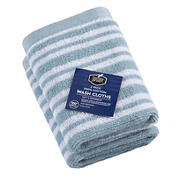 Berkley Jensen Cotton Wash Cloths, 2 pk. - Glacier Blue Stripe