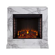 Seidal Dendale Faux Marble Contemporary Electric Fireplace - White