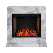 Seidal Dendale Faux Marble Electric Fireplace with Alexa Firebox - White