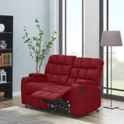 Dasia 2-Seat Wall Hugger Storage Reclining Microfiber Loveseat - Red