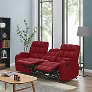 Dasia 3-Seat Wall Hugger Storage Reclining Microfiber Sofa - Red