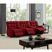 Dasia 3-Seat Wall Hugger Storage Reclining Microfiber Sofa with Power Consoles - Red