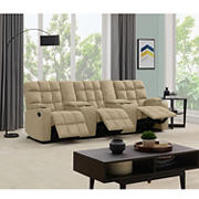 Dasia 3-Seat Wall Hugger Storage Reclining Microfiber Sofa with Power Consoles - Mocha
