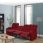 Dasia 4-Seat Wall Hugger Storage Reclining Microfiber Sofa - Red