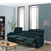 Dasia 4-Seat Wall Hugger Storage Reclining Microfiber Sofa - Blue