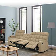 Dasia 4-Seat Wall Hugger Storage Reclining Microfiber Sofa - Mocha