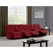 Dasia 4-Seat Wall Hugger Storage Reclining Microfiber Sofa with Power Consoles - Red