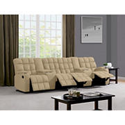 Dasia 4-Seat Wall Hugger Storage Reclining Microfiber Sofa with Power Consoles - Mocha