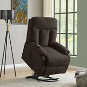 Ferdinand Power Lift Plush Low-Pile Velvet Reclining Chair - Chocolate Brown