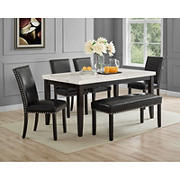 Heather Carrera White Marble Top 6-Pc. Dining Set