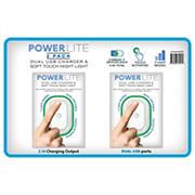 PowerLite Nightlight with Dual USB Charger, 2 pk.