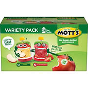 Mott's Applesauce No Sugar Added Variety Pack, 3.2 Ounce Pouch, 24 pack