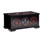 Mele and Co. Marley Wooden Jewelry Box with Pennsylvania Dutch Motif - Black