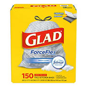 Glad ForceFlex 13 Gallon Drawstring Trash Bag, 150 ct.