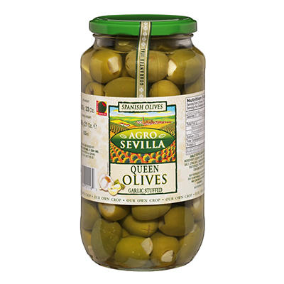 Agro Sevilla Garlic Stuffed Olives, 21 oz.
