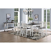 Steve Silver Denison 7-Pc. Two-Tone Counter Height Dining Set - Ivory/Dark Oak