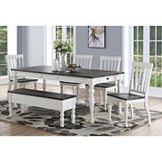 Steve Silver Denison 6-Pc. Two-Tone Dining Set with Bench - Dark Oak/Ivory