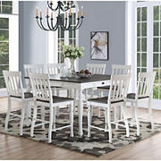 Steve Silver Denison 9-Pc. Two-Tone Counter Height Dining Set - Dark Oak/Ivory