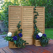 Yardistry Fusion Premium Cedar Privacy Screen with 4 Planters