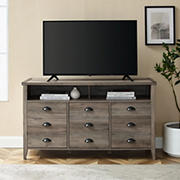 "W. Trends 52"" Farmhouse 3 Drawer TV Stand for Most TV's up to 58"" - Grey Wash"