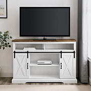 "W. Trends 52"" Farmhouse Sliding Barn Door TV Stand for Most TV's up to 58"" - White Brown"