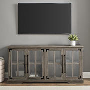 "W. Trends 58"" Farmhouse 4 Door TV Stand for Most TV's up to 65"" - Grey Wash"