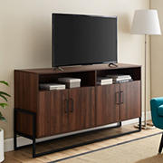 "W. Trends 58"" Farmhouse 4 Door Tall TV Stand for Most TV's up to 65"" - Dark Walnut"