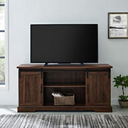 "W. Trends 58"" Transitional Sliding Groove Door TV Stand for Most TV's up to 65"" - Dark Walnut"