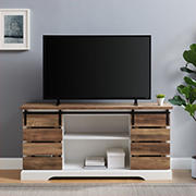 "W. Trends 58"" Farmhouse Sliding Slat Door TV Stand for Most TV's up to 65"" - White Brown"
