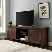 "W. Trends 70"" Modern Farmhouse 2 Door TV Stand for Most TV's up to 80"" - Dark Walnut"