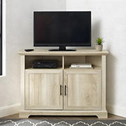 "W. Trends 44"" Coastal Farmhouse Grooved Door Corner TV Stand for Most TV's up to 50"" - White Oak"