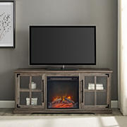 """W. Trends 60"""" Modern Farmhouse Glass Door Fireplace TV Stand for Most TV's up to 65"""" - Grey Wash"""