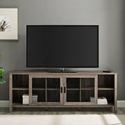 "W. Trends 70"" Industrial Sliding Metal Mesh Door TV Stand for Most TV's up to 80"" - Grey Wash"