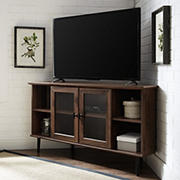 "W. Trends 48"" Transitional Glass Door Corner TV Stand for Most TV's up to 55"" - Dark Walnut"