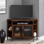 "W. Trends 48"" Industrial Metal Mesh Corner TV Stand for Most TV's up to 55"" - Dark Walnut"