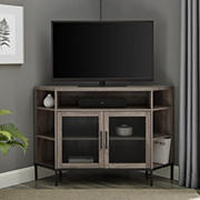 "W. Trends 48"" Industrial Metal Mesh Corner TV Stand for Most TV's up to 55"" - Grey Wash"