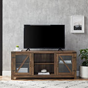 "W. Trends 58"" Farmhouse Glass Barn Door TV Stand for Most TV's up to 65"" - Rustic Oak"