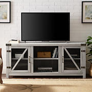 "W. Trends 58"" Farmhouse Glass Barn Door TV Stand for Most TV's up to 65"" - Stone Grey"