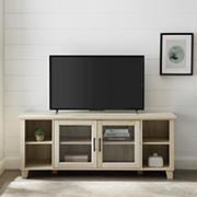 "W. Trends 58"" Rustic Glass Door TV Stand for Most TV's up to 65"" - White Oak"