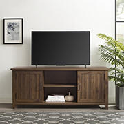 "W. Trends 58"" Transitional Groove Door TV Stand for Most TV's up to 65"" - Dark Walnut"
