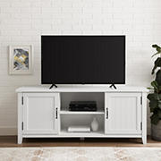 "W. Trends 58"" Transitional Groove Door TV Stand for Most TV's up to 65"" - Solid White"