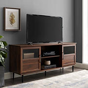 "W. Trends 58"" Transitional 2 Door TV Stand for Most TV's up to 65"" - Dark Walnut"