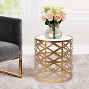 Abbyson Living Jessica Gold Circle End Table - Gold