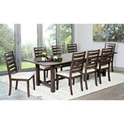 Abbyson Living Vincenzo 9-Pc. Dining Set - Distressed Cherry