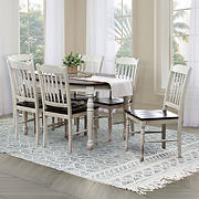 Abbyson Living Traverse 7-Pc. Dining Set - Distressed White