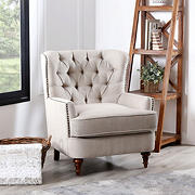 Abbyson Living Jackson Oversized Tufted Club Chair - Beige