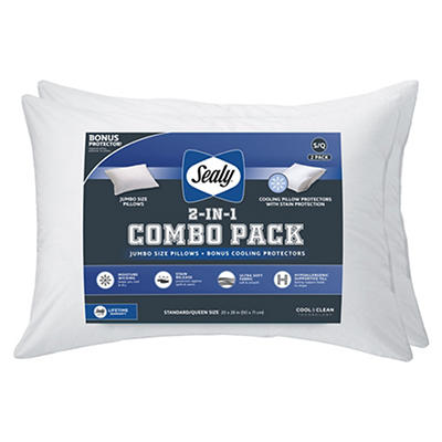 2-Pack Sealy Cooling Pillow with Bonus Pillow Cover