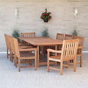 Amazonia Amelia 9-Pc. Wood Extendable Patio Dining Set